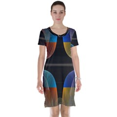 Black Cross With Color Map Fractal Image Of Black Cross With Color Map Short Sleeve Nightdress