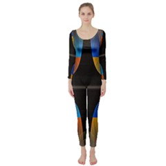 Black Cross With Color Map Fractal Image Of Black Cross With Color Map Long Sleeve Catsuit