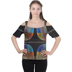 Black Cross With Color Map Fractal Image Of Black Cross With Color Map Women s Cutout Shoulder Tee