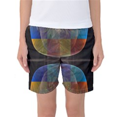 Black Cross With Color Map Fractal Image Of Black Cross With Color Map Women s Basketball Shorts