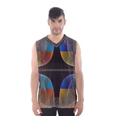Black Cross With Color Map Fractal Image Of Black Cross With Color Map Men s Basketball Tank Top