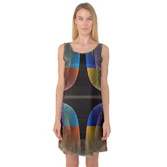 Black Cross With Color Map Fractal Image Of Black Cross With Color Map Sleeveless Satin Nightdress