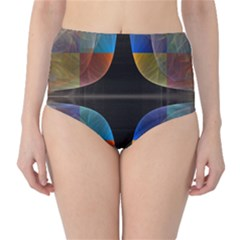 Black Cross With Color Map Fractal Image Of Black Cross With Color Map High-Waist Bikini Bottoms