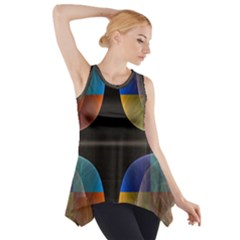 Black Cross With Color Map Fractal Image Of Black Cross With Color Map Side Drop Tank Tunic