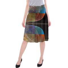 Black Cross With Color Map Fractal Image Of Black Cross With Color Map Midi Beach Skirt