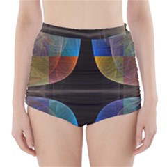 Black Cross With Color Map Fractal Image Of Black Cross With Color Map High-Waisted Bikini Bottoms