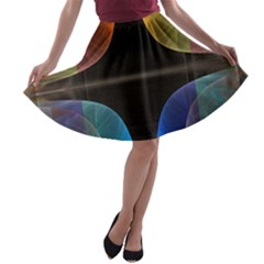 Black Cross With Color Map Fractal Image Of Black Cross With Color Map A-line Skater Skirt