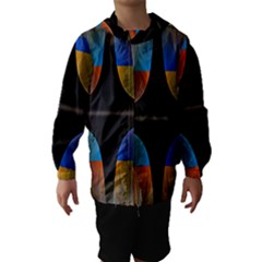 Black Cross With Color Map Fractal Image Of Black Cross With Color Map Hooded Wind Breaker (kids)