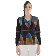 Black Cross With Color Map Fractal Image Of Black Cross With Color Map Wind Breaker (women)