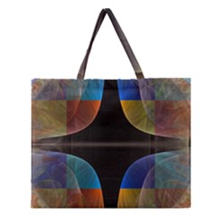 Black Cross With Color Map Fractal Image Of Black Cross With Color Map Zipper Large Tote Bag