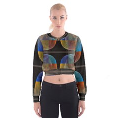 Black Cross With Color Map Fractal Image Of Black Cross With Color Map Cropped Sweatshirt
