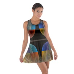 Black Cross With Color Map Fractal Image Of Black Cross With Color Map Cotton Racerback Dress