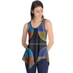 Black Cross With Color Map Fractal Image Of Black Cross With Color Map Sleeveless Tunic