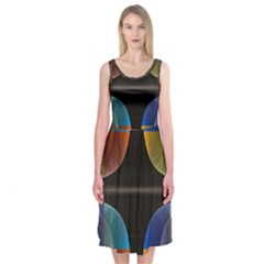 Black Cross With Color Map Fractal Image Of Black Cross With Color Map Midi Sleeveless Dress
