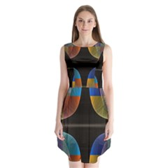 Black Cross With Color Map Fractal Image Of Black Cross With Color Map Sleeveless Chiffon Dress