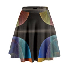 Black Cross With Color Map Fractal Image Of Black Cross With Color Map High Waist Skirt