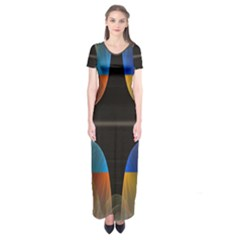 Black Cross With Color Map Fractal Image Of Black Cross With Color Map Short Sleeve Maxi Dress