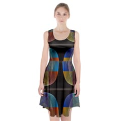 Black Cross With Color Map Fractal Image Of Black Cross With Color Map Racerback Midi Dress