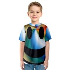 Simple Smiley In Color Kids  Sport Mesh Tee