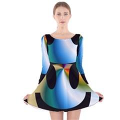 Simple Smiley In Color Long Sleeve Velvet Skater Dress