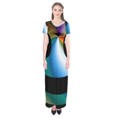Simple Smiley In Color Short Sleeve Maxi Dress