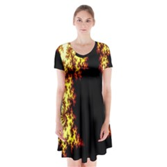 A Fractal Image Short Sleeve V-neck Flare Dress