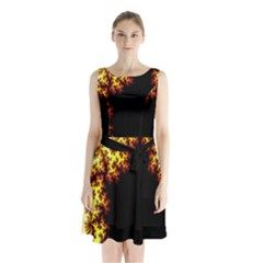 A Fractal Image Sleeveless Chiffon Waist Tie Dress