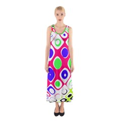 Color Ball Sphere With Color Dots Sleeveless Maxi Dress