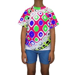 Color Ball Sphere With Color Dots Kids  Short Sleeve Swimwear