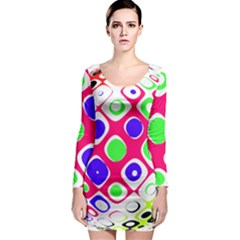 Color Ball Sphere With Color Dots Long Sleeve Bodycon Dress