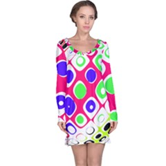 Color Ball Sphere With Color Dots Long Sleeve Nightdress