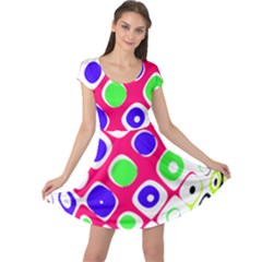 Color Ball Sphere With Color Dots Cap Sleeve Dresses