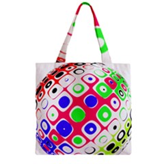 Color Ball Sphere With Color Dots Zipper Grocery Tote Bag