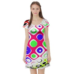 Color Ball Sphere With Color Dots Short Sleeve Skater Dress