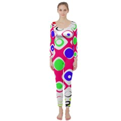 Color Ball Sphere With Color Dots Long Sleeve Catsuit