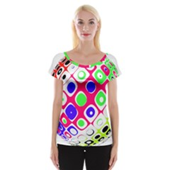 Color Ball Sphere With Color Dots Women s Cap Sleeve Top