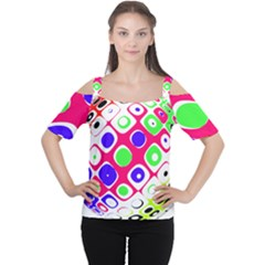 Color Ball Sphere With Color Dots Women s Cutout Shoulder Tee
