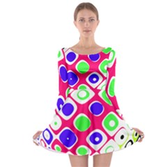 Color Ball Sphere With Color Dots Long Sleeve Skater Dress