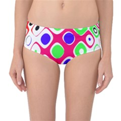 Color Ball Sphere With Color Dots Mid Waist Bikini Bottoms