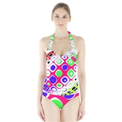 Color Ball Sphere With Color Dots Halter Swimsuit
