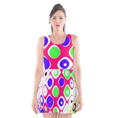 Color Ball Sphere With Color Dots Scoop Neck Skater Dress