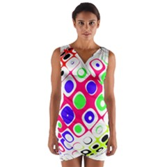 Color Ball Sphere With Color Dots Wrap Front Bodycon Dress