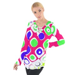 Color Ball Sphere With Color Dots Women s Tie Up Tee