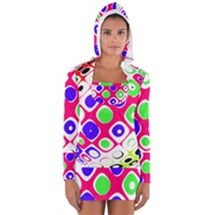 Color Ball Sphere With Color Dots Women s Long Sleeve Hooded T-shirt