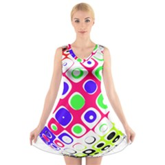 Color Ball Sphere With Color Dots V Neck Sleeveless Skater Dress