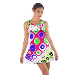 Color Ball Sphere With Color Dots Cotton Racerback Dress