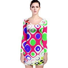 Color Ball Sphere With Color Dots Long Sleeve Velvet Bodycon Dress