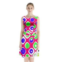 Color Ball Sphere With Color Dots Sleeveless Chiffon Waist Tie Dress