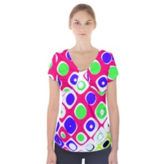 Color Ball Sphere With Color Dots Short Sleeve Front Detail Top