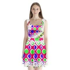 Color Ball Sphere With Color Dots Split Back Mini Dress
